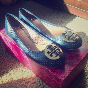 Tory Burch Navy Perforated Flats